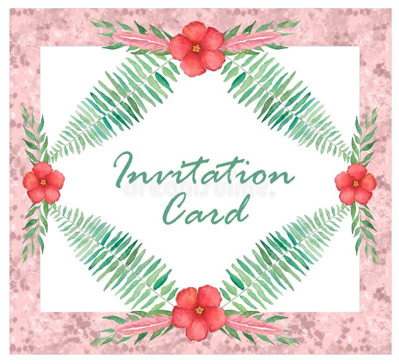 Floral προσκαλέστε την κάρτα με τους κλάδους φτερών, απεικόνιση watercolor διανυσματική απεικόνιση