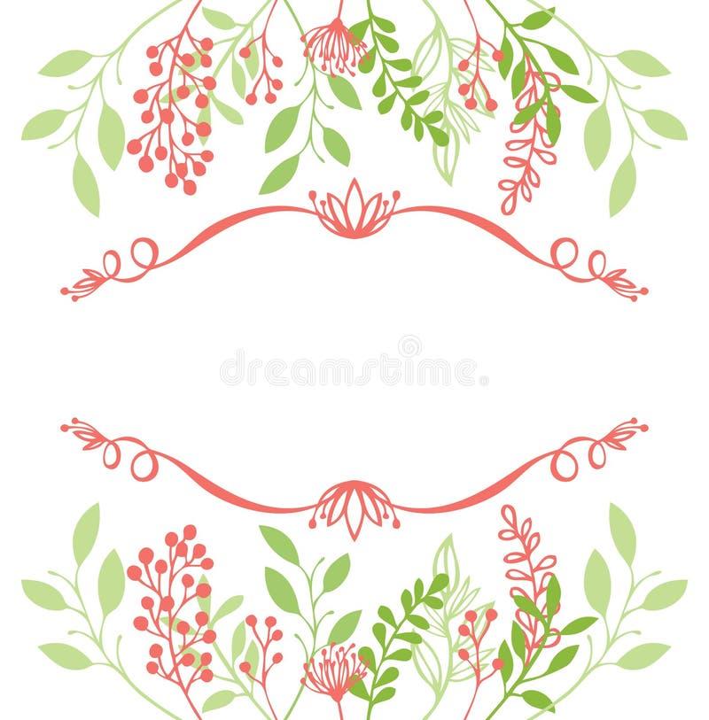 Floral πρόσκληση καρτών σχεδίου κλαδίσκων και φύλλων πλαισίων απεικόνιση αποθεμάτων