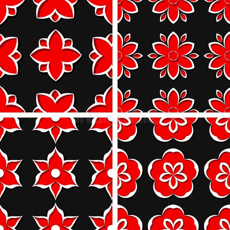 floral πρότυπα άνευ ραφής Σύνολο μαύρων τρισδιάστατων υποβάθρων με τα κόκκινα στοιχεία απεικόνιση αποθεμάτων