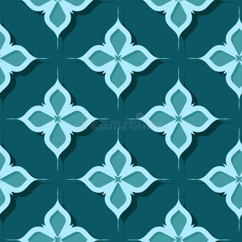 floral πρότυπο άνευ ραφής Γαλαζοπράσινα τρισδιάστατα σχέδια απεικόνιση αποθεμάτων
