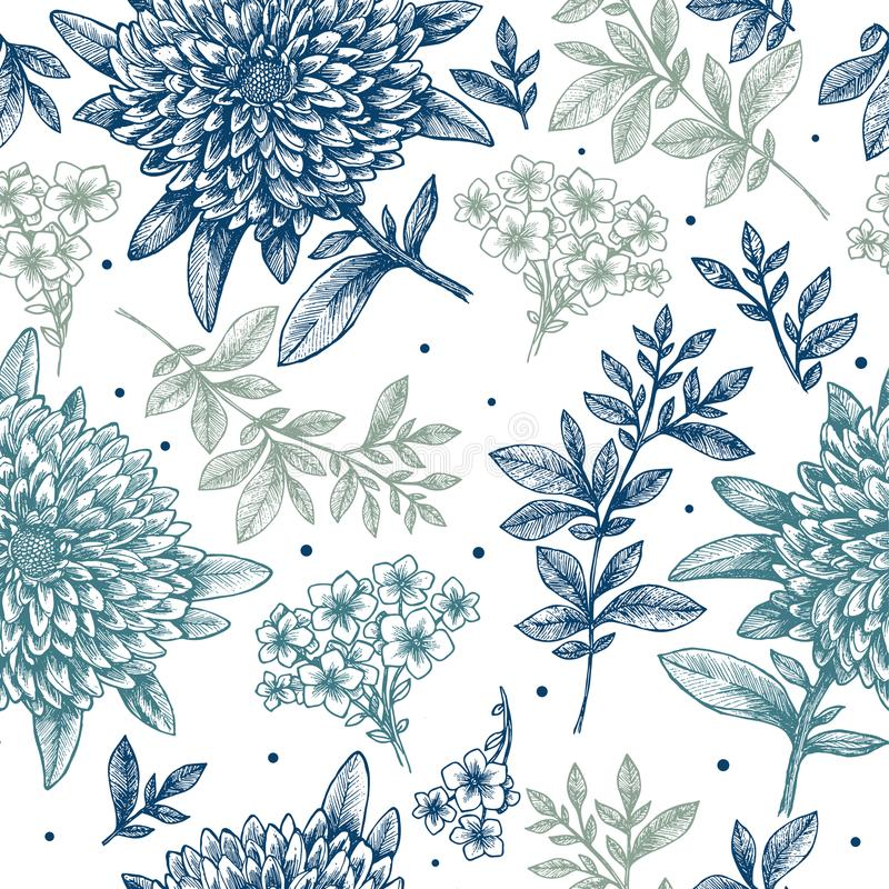 floral πρότυπο άνευ ραφής Γραμμικό περιγραμματικό υπόβαθρο λουλουδιών ύφους Εκλεκτής ποιότητας σχέδιο υφάσματος επίσης corel σύρε ελεύθερη απεικόνιση δικαιώματος