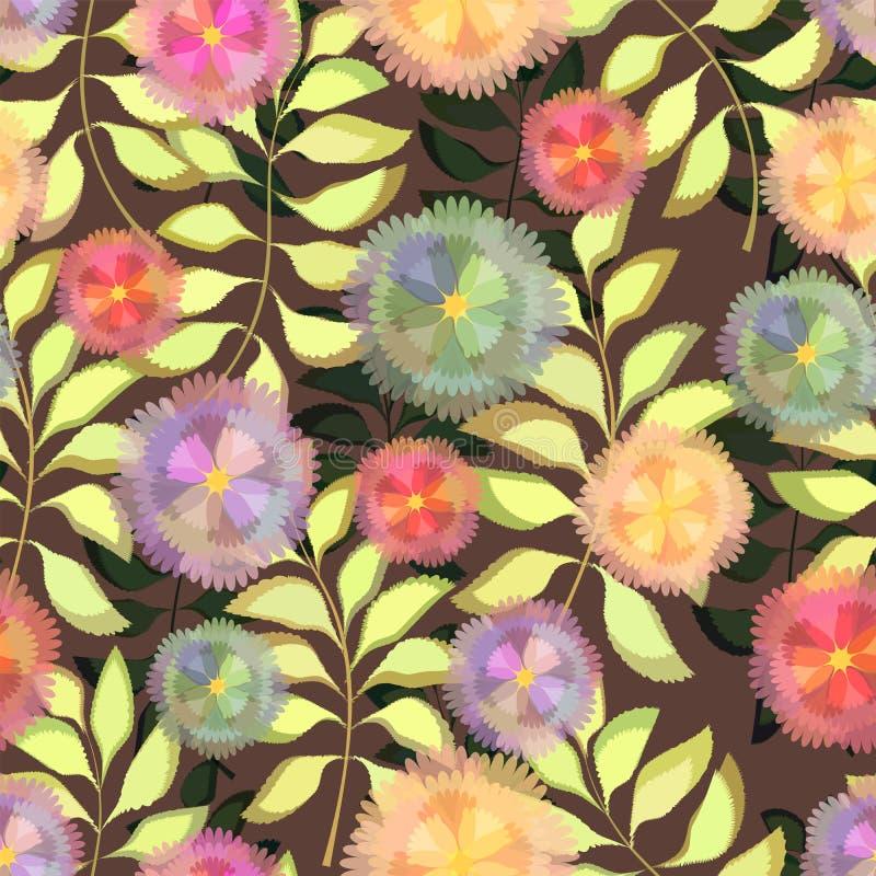 floral πρότυπο άνευ ραφής Διανυσματικά λουλούδια με τους κλάδους και τα φύλλα ελεύθερη απεικόνιση δικαιώματος