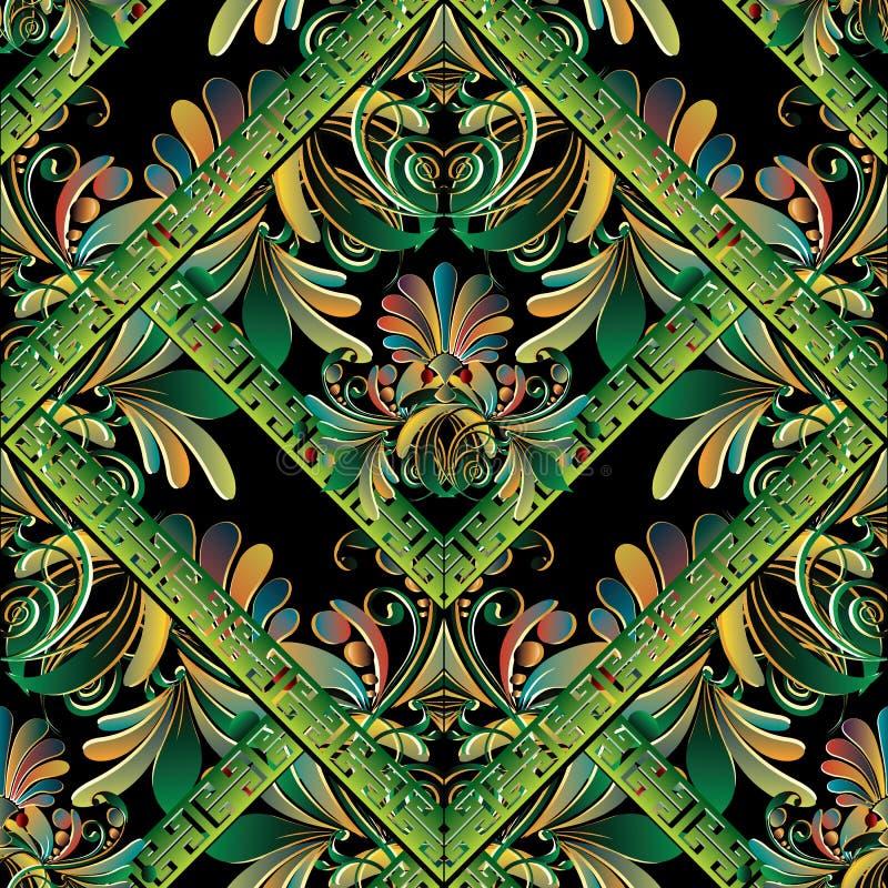 floral πρότυπο άνευ ραφής Διανυσματικό ελληνικό βασικό υπόβαθρο μαιάνδρων Ο διανυσματική απεικόνιση