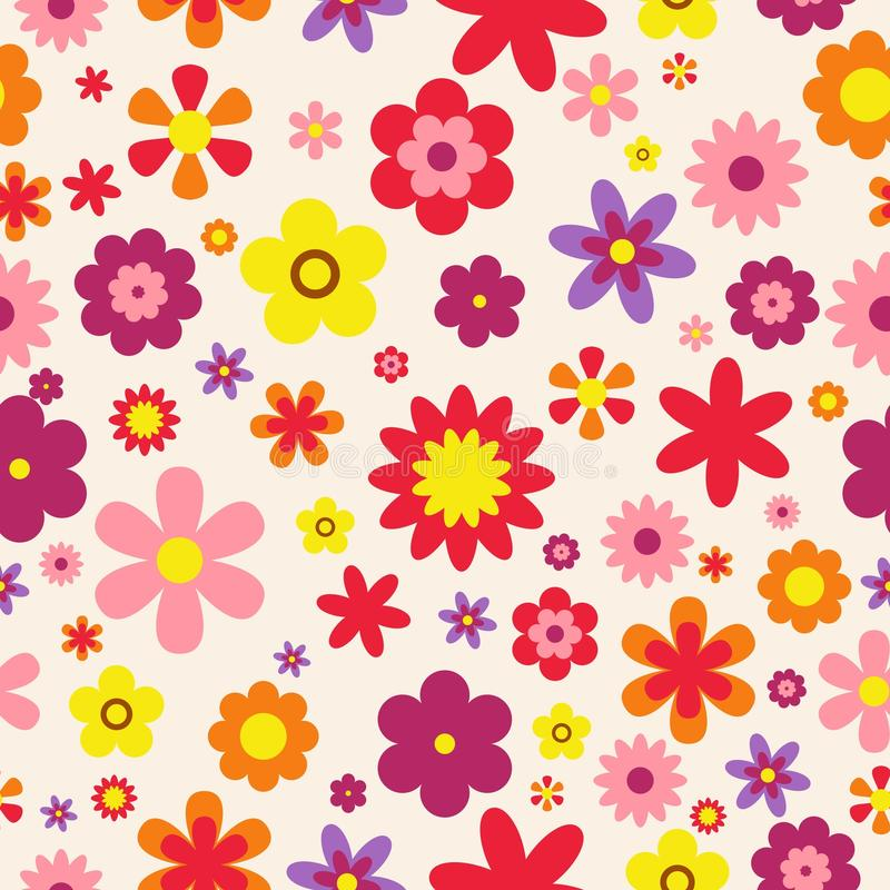 floral πρότυπο άνευ ραφής ζωηρόχρωμη σύσταση λουλ&omic Επίπεδο ύφος λουλουδιών επίσης corel σύρετε το διάνυσμα απεικόνισης απεικόνιση αποθεμάτων