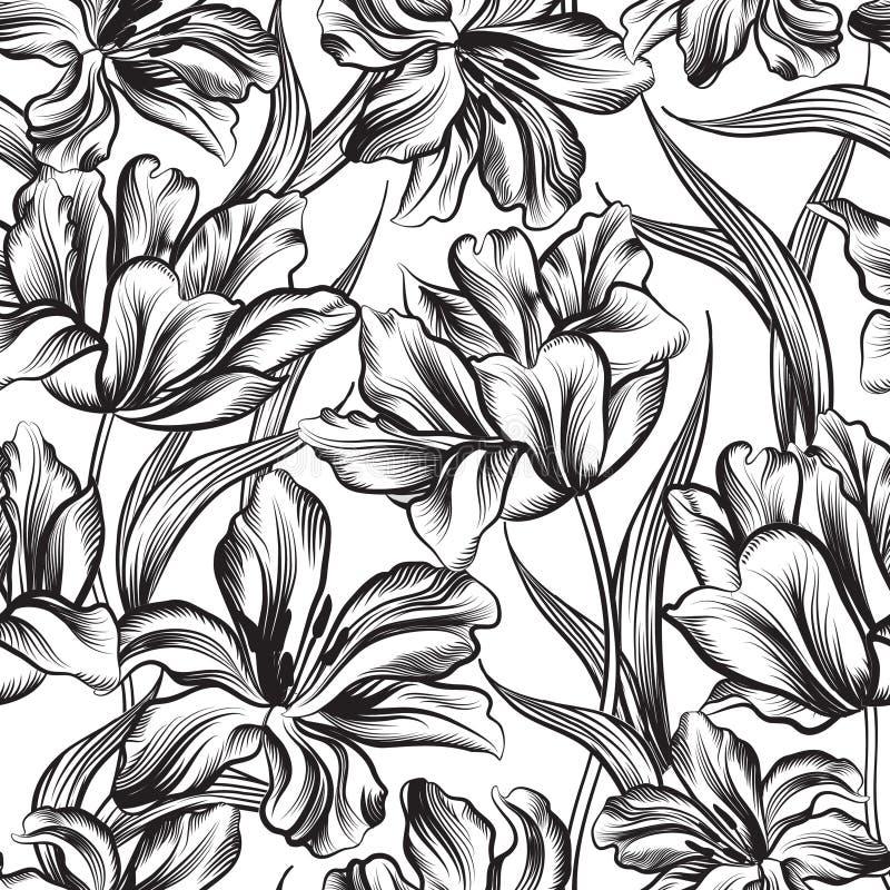 floral πρότυπο άνευ ραφής διακοσμητικό λουλούδι απεικόνιση αποθεμάτων