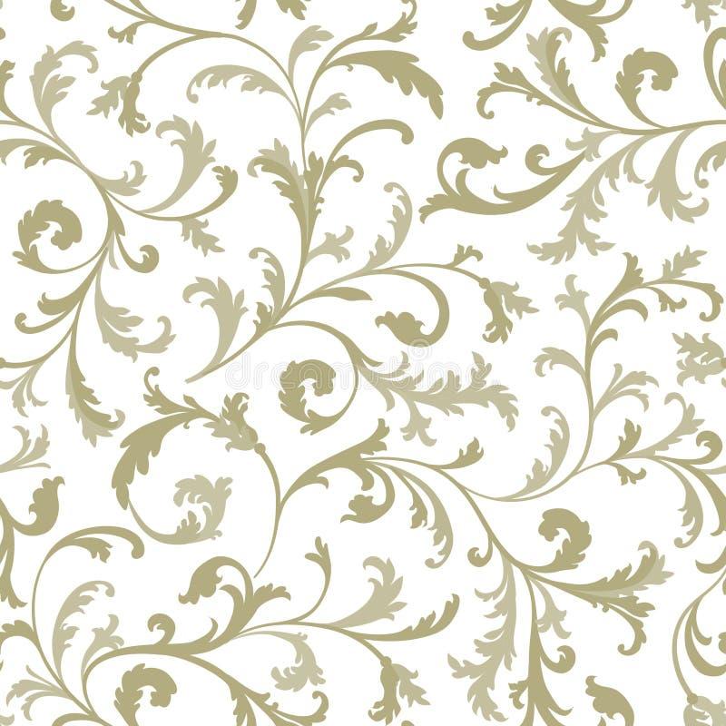 floral πρότυπο άνευ ραφής Κλάδος με τη διακόσμηση φύλλων Ακμάστε το ν ελεύθερη απεικόνιση δικαιώματος