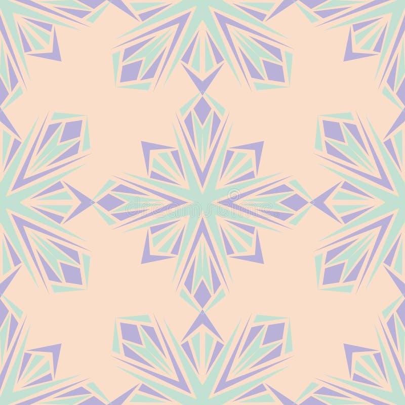 floral πρότυπο άνευ ραφής Μπεζ υπόβαθρο με τα ιώδη και μπλε στοιχεία λουλουδιών διανυσματική απεικόνιση