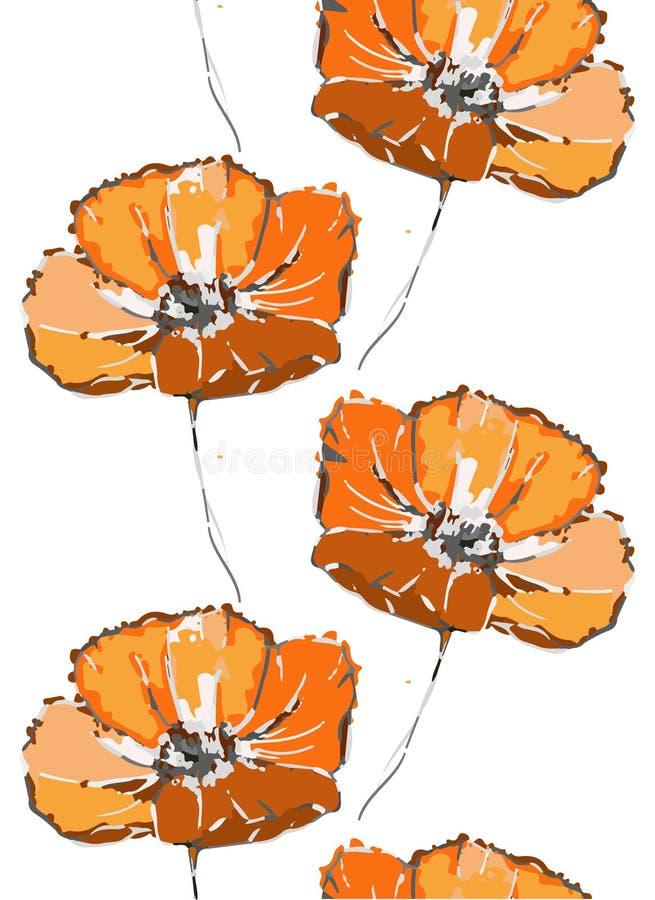 floral πρότυπο άνευ ραφής Πορτοκαλιά λουλούδια παπαρουνών στο άσπρο υπόβαθρο ελεύθερη απεικόνιση δικαιώματος