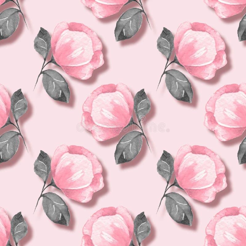 floral πρότυπο άνευ ραφής Ρόδινα λουλούδια 04 ελεύθερη απεικόνιση δικαιώματος