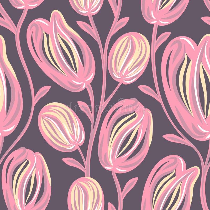 floral πρότυπο άνευ ραφής Συρμένα χέρι δημιουργικά λουλούδια Ζωηρόχρωμο καλλιτεχνικό υπόβαθρο με το άνθος Αφηρημένο χορτάρι διανυσματική απεικόνιση