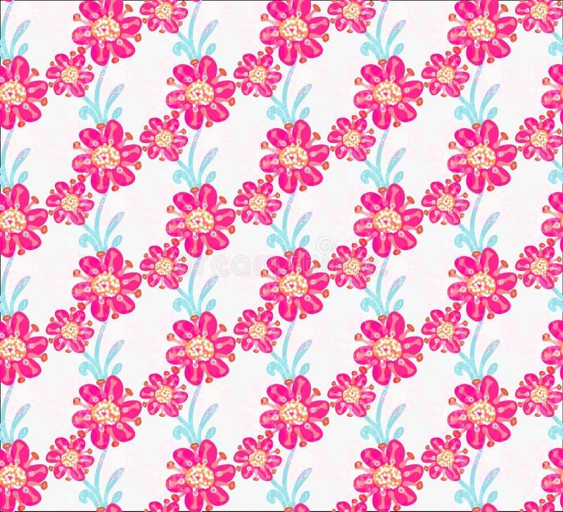 floral πρότυπο άνευ ραφής Συρμένα χέρι δημιουργικά λουλούδια Ζωηρόχρωμο καλλιτεχνικό υπόβαθρο με το άνθος Αφηρημένο χορτάρι απεικόνιση αποθεμάτων