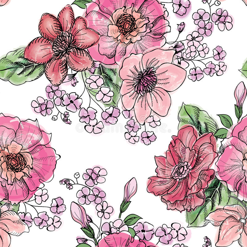 floral πρότυπο άνευ ραφής Υπόβαθρο ανθοδεσμών λουλουδιών απεικόνιση αποθεμάτων