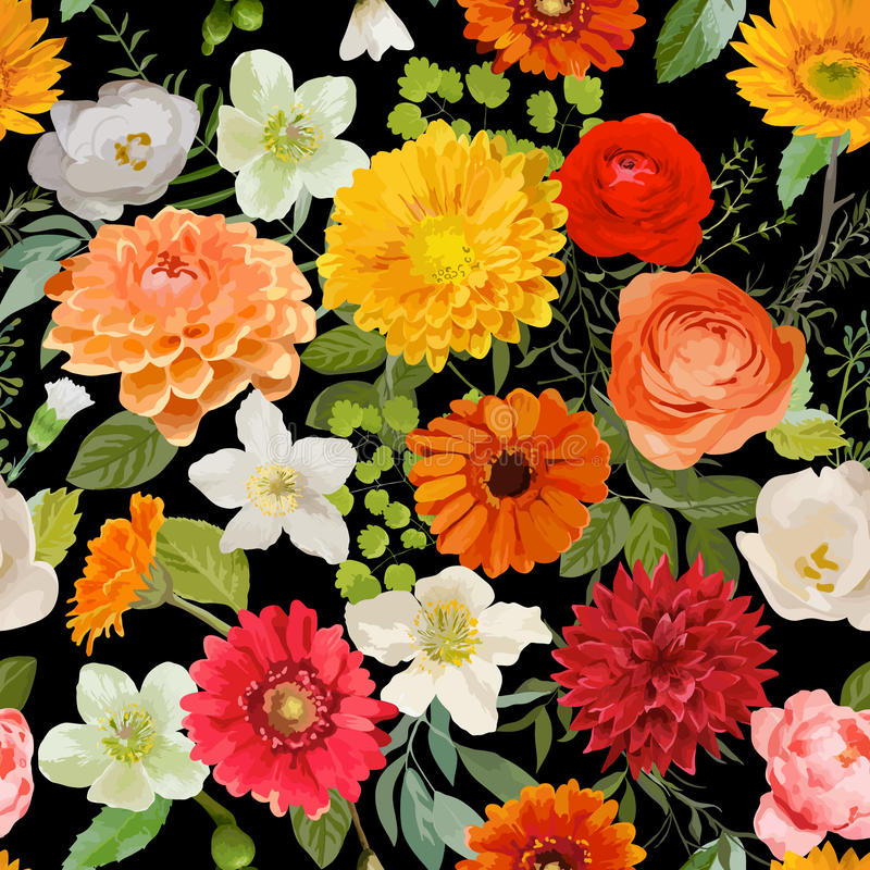 floral πρότυπο άνευ ραφής Υπόβαθρο λουλουδιών καλοκαιριού και φθινοπώρου διανυσματική απεικόνιση