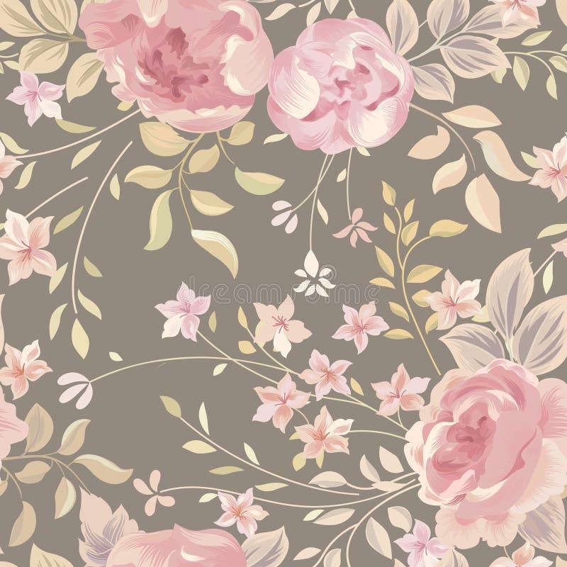 floral πρότυπο άνευ ραφής φως λουλουδιών ανασκόπησης playnig Ακμάστε το κείμενο κήπων διανυσματική απεικόνιση