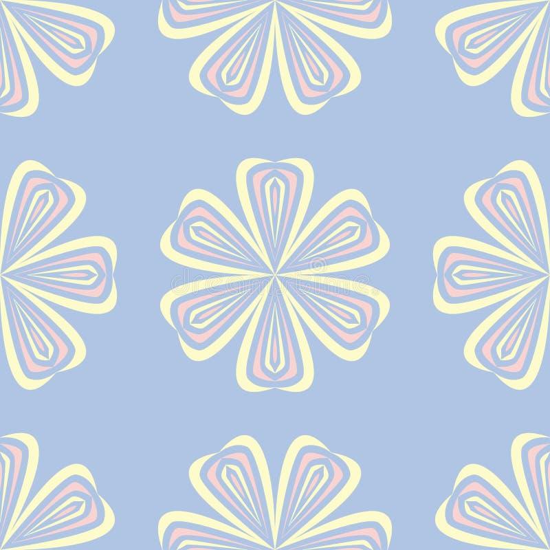 floral πρότυπο άνευ ραφής Χλωμιάστε - μπλε υπόβαθρο με τα μπεζ και ρόδινα στοιχεία λουλουδιών διανυσματική απεικόνιση