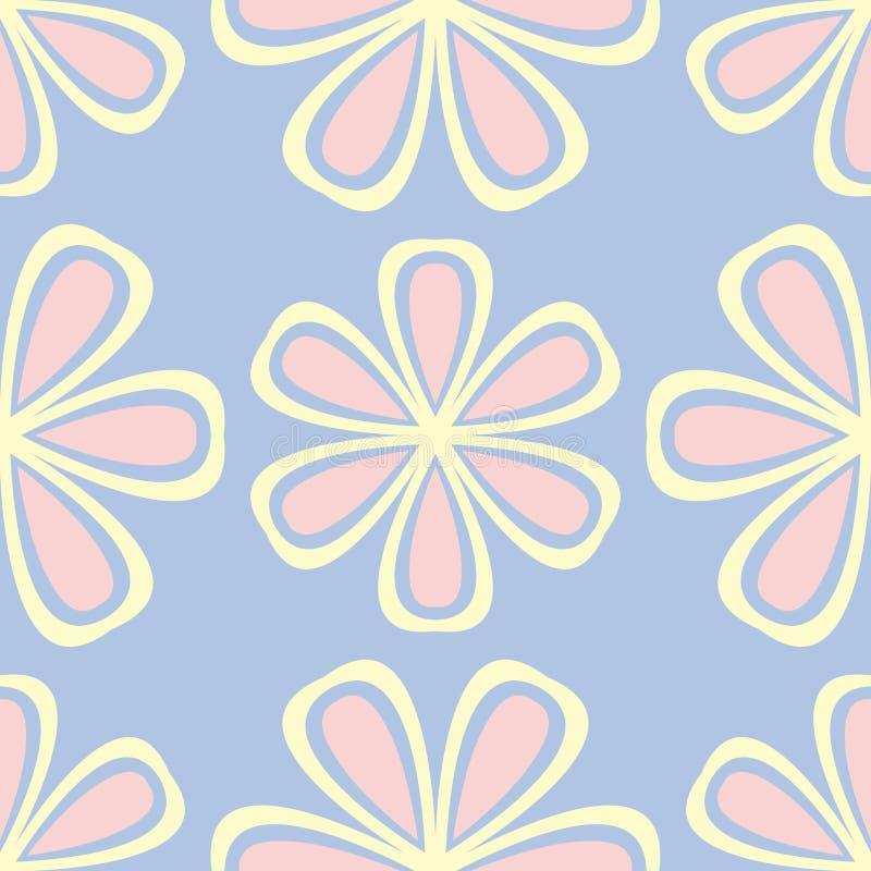 floral πρότυπο άνευ ραφής Χλωμιάστε - μπλε υπόβαθρο με τα μπεζ και ρόδινα στοιχεία λουλουδιών ελεύθερη απεικόνιση δικαιώματος