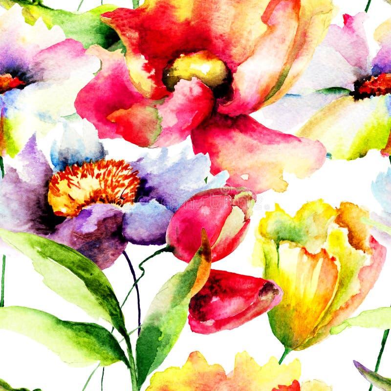 floral πρότυπο άνευ ραφής διανυσματική απεικόνιση