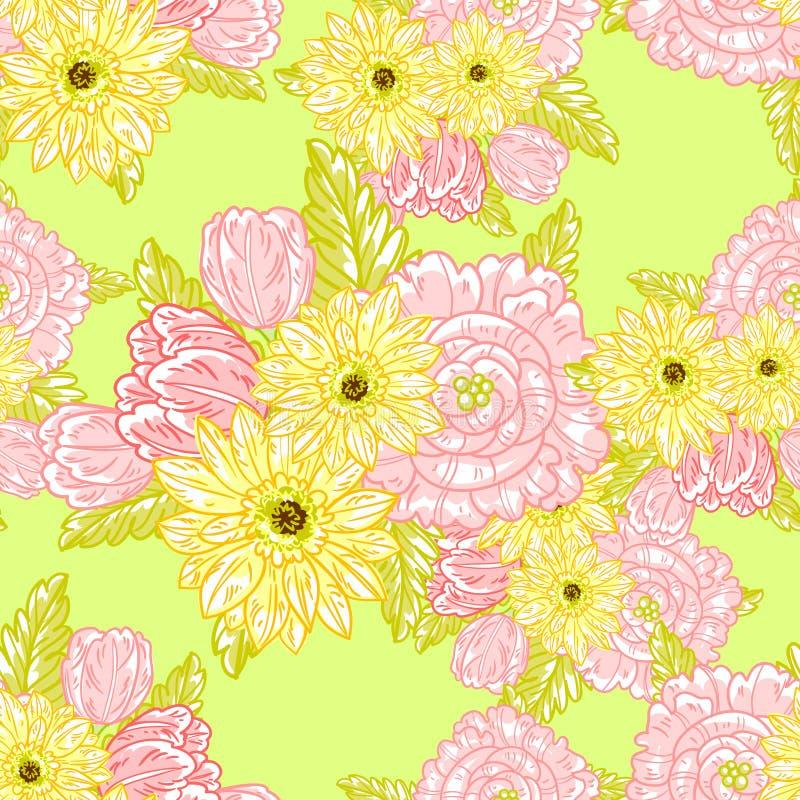 Download Floral πρότυπο καρδιών λουλουδιών απελευθέρωσης πεταλούδων κίτρινο Διανυσματική απεικόνιση - εικονογραφία από ανασκόπησης, θηλυκός: 62724598