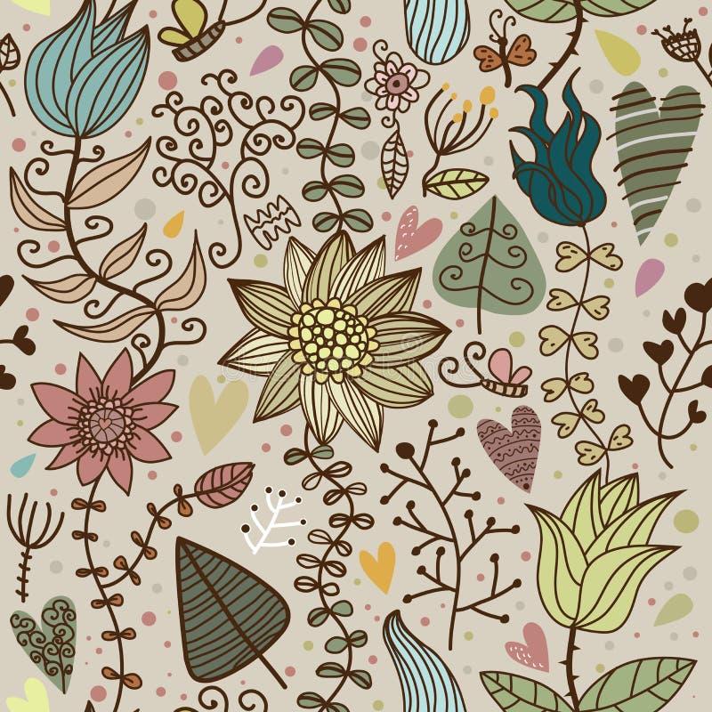 floral πρότυπο κινούμενων σχεδίων άνευ ραφής διανυσματική απεικόνιση