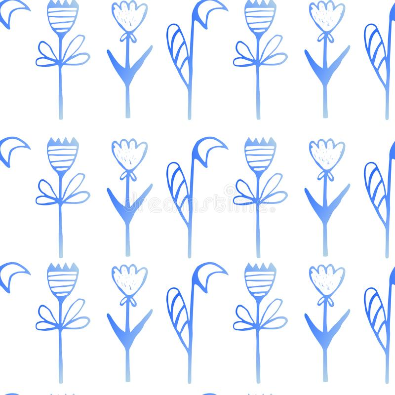 floral πρότυπο κρητιδογραφιών Γεμισμένος με μια κλίση γεμίστε απεικόνιση αποθεμάτων
