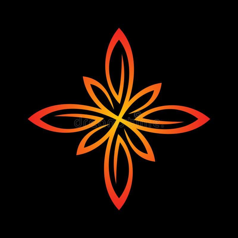 Floral πρότυπο λογότυπων Καθαρό τυποποιημένο σημάδι γραμμών διανυσματική απεικόνιση