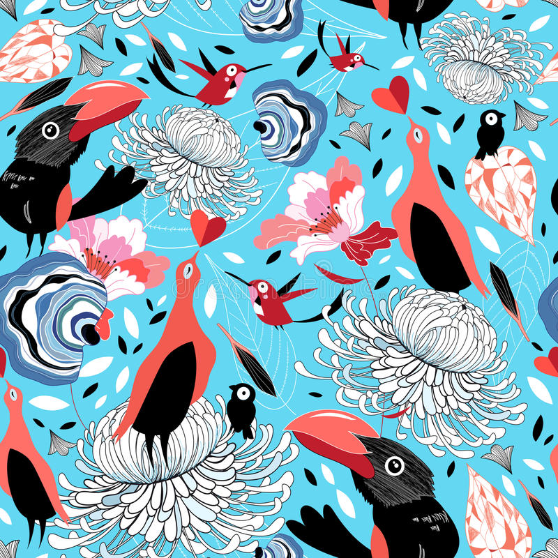 floral πρότυπο πουλιών ελεύθερη απεικόνιση δικαιώματος