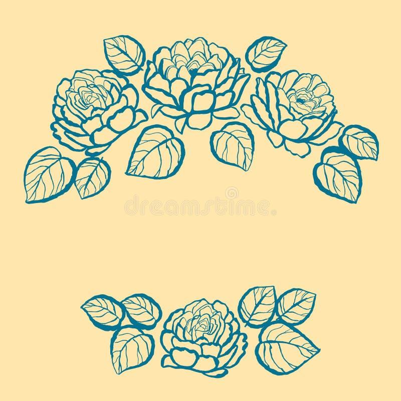 Floral πλαίσιο μελανιού στοκ εικόνες με δικαίωμα ελεύθερης χρήσης
