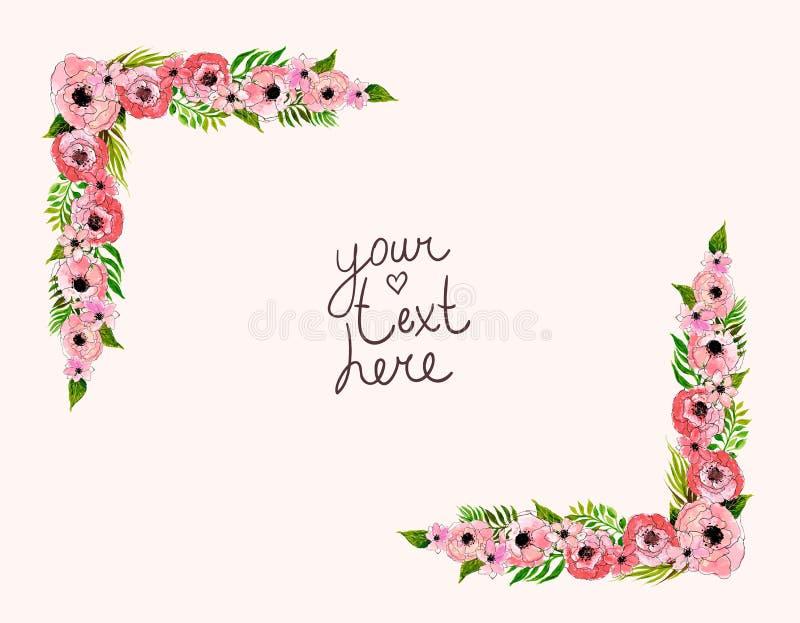 Floral πλαίσιο με τα ρόδινα λουλούδια ελεύθερη απεικόνιση δικαιώματος