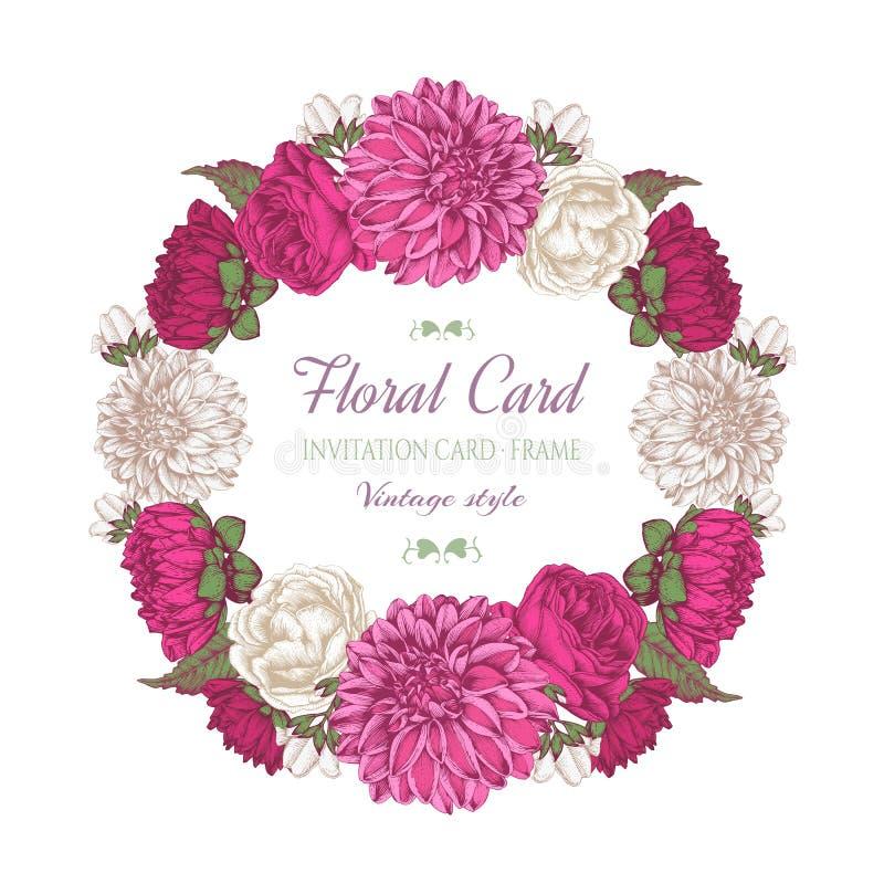 Floral πλαίσιο με τις ντάλιες, τα τριαντάφυλλα και jasmine διανυσματική απεικόνιση