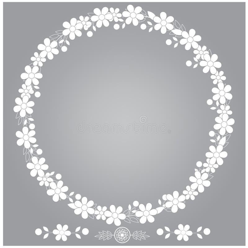 Floral πλαίσιο με το διάνυσμα φύλλων ελεύθερη απεικόνιση δικαιώματος