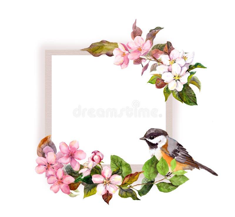 Floral πλαίσιο - λουλούδια και όμορφο πουλί για το εσωτερικό σχέδιο Σύνορα Watercolor για το κείμενο απεικόνιση αποθεμάτων