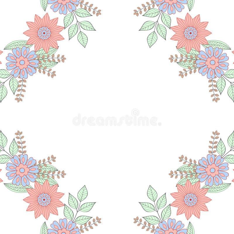 Floral πλαίσιο στεφανιών doodles στο ύφος zentangle just rained διανυσματική απεικόνιση