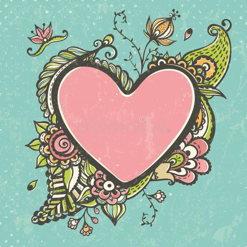 Floral πλαίσιο doodle με μορφή της καρδιάς ελεύθερη απεικόνιση δικαιώματος