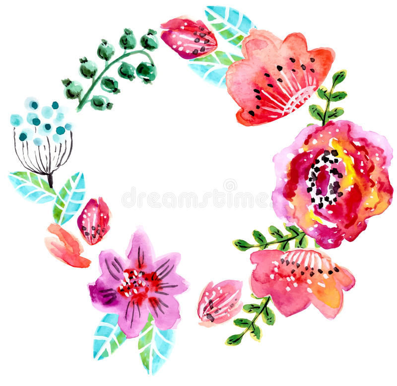 Floral πλαίσιο Watercolor για τη γαμήλια πρόσκληση διανυσματική απεικόνιση