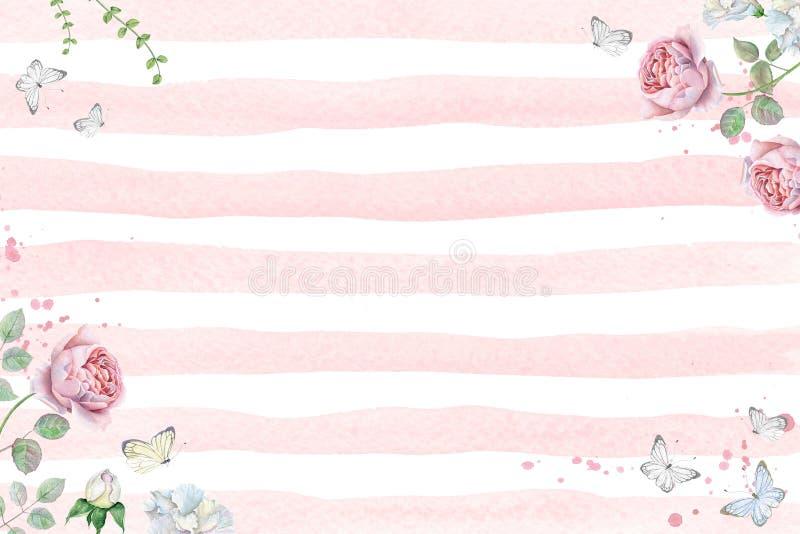 Floral πλαίσιο Watercolor με τα ρόδινες τριαντάφυλλα και τις πεταλούδες ελεύθερη απεικόνιση δικαιώματος