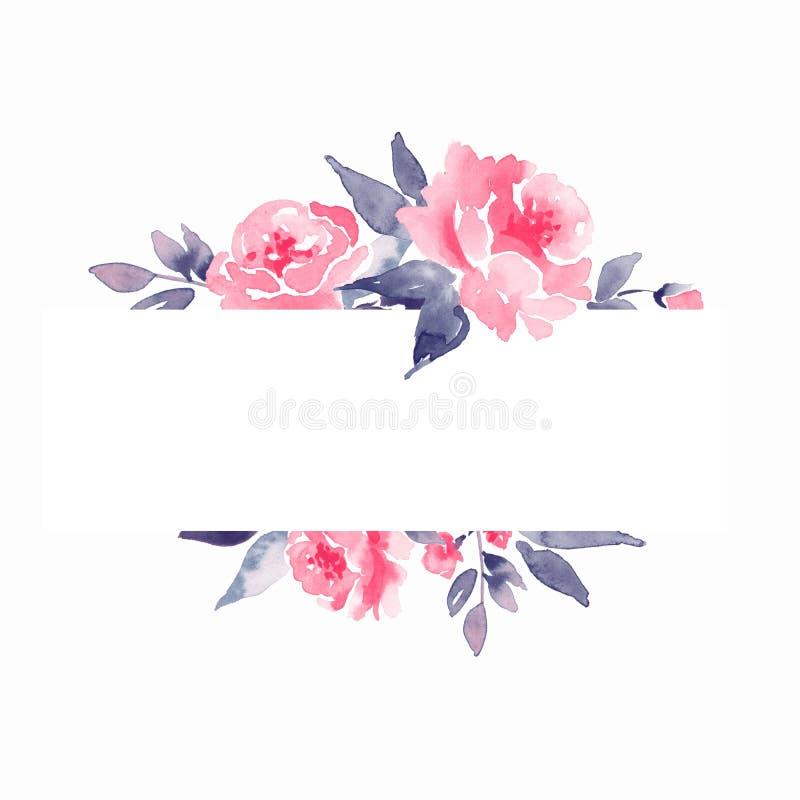 Floral πλαίσιο Watercolor Στοιχείο για το σχέδιο ελεύθερη απεικόνιση δικαιώματος