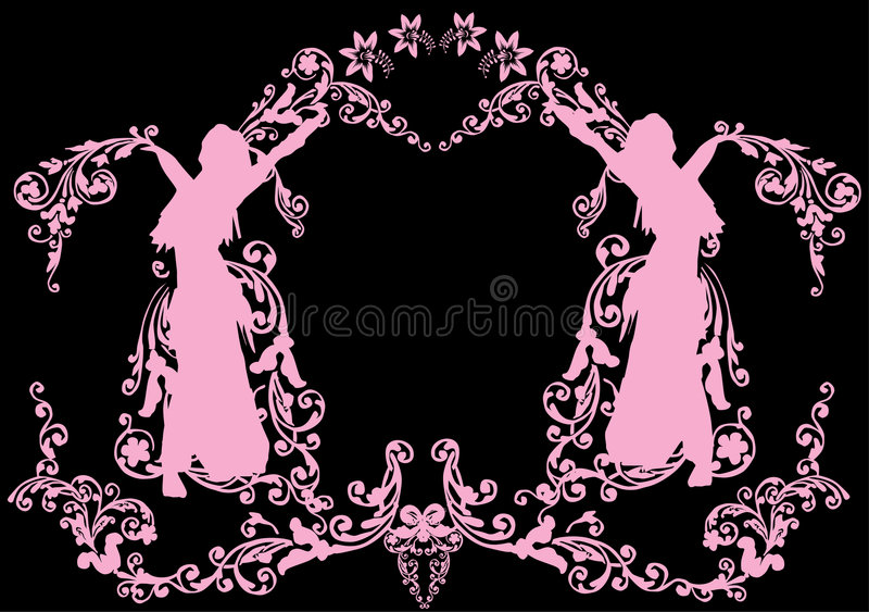 floral ροζ κοριτσιών διακοσμή&si απεικόνιση αποθεμάτων