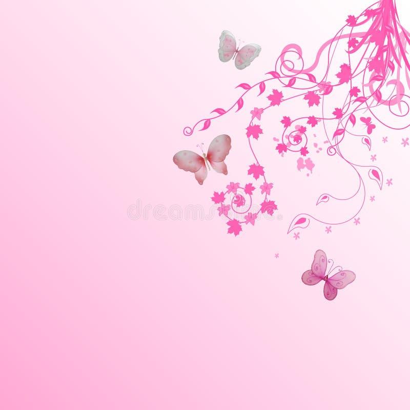 floral ροζ πεταλούδων ανασκόπησης ελεύθερη απεικόνιση δικαιώματος