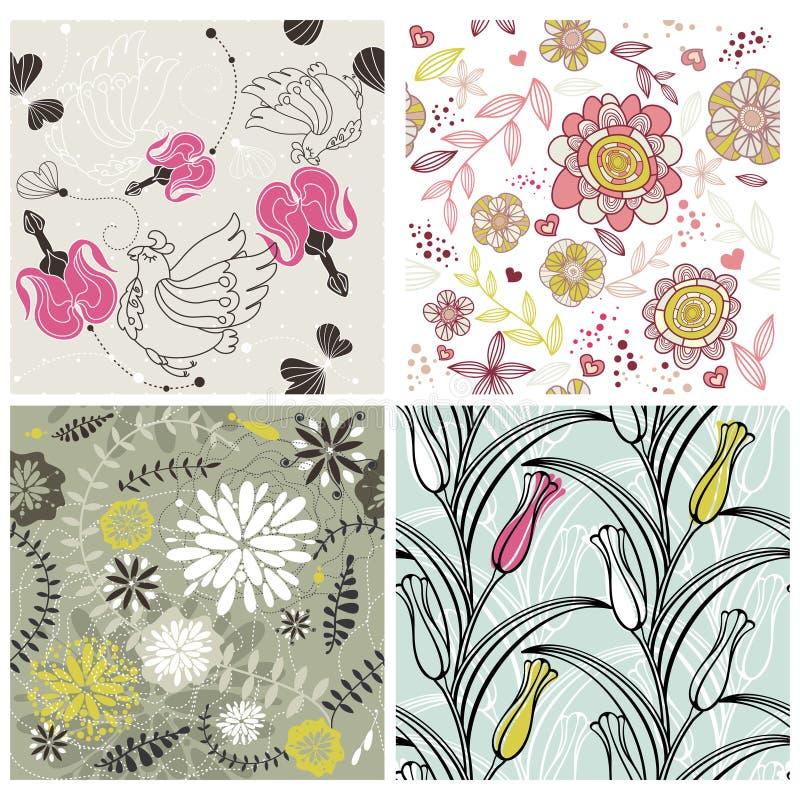 floral ρομαντικό σύνολο ανασκό&p διανυσματική απεικόνιση