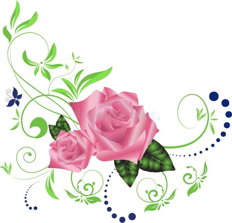 Floral ρύθμιση για τις γωνίες συνόρων απεικόνιση αποθεμάτων