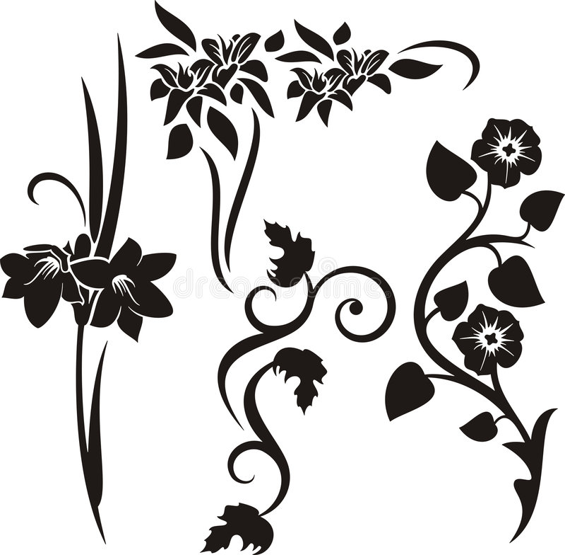 floral σειρά διακοσμήσεων διανυσματική απεικόνιση