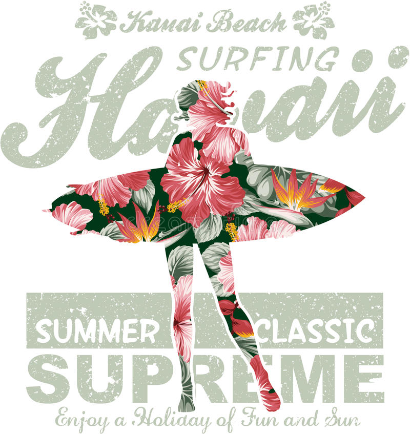 Floral σερφ της Χαβάης διανυσματική απεικόνιση