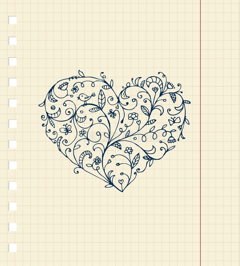 floral σκίτσο φύλλων διακοσμή&sig διανυσματική απεικόνιση