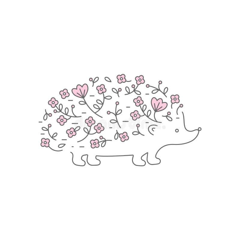 Floral σκαντζόχοιρος, λογότυπο για το σχέδιό σας απεικόνιση αποθεμάτων