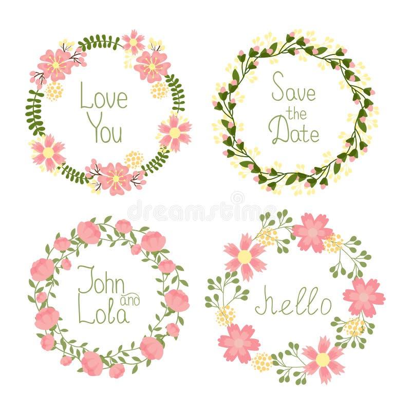 Floral στεφάνια πλαισίων για τις γαμήλιες προσκλήσεις διανυσματική απεικόνιση