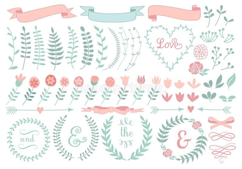 Floral στεφάνι δαφνών, σύνολο ελεύθερη απεικόνιση δικαιώματος