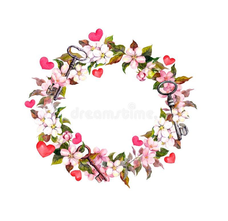 Floral στεφάνι με τα ρόδινα λουλούδια, φτερά, καρδιές, κλειδιά Πλαίσιο κύκλων Watercolor για την ημέρα βαλεντίνων, γάμος στοκ φωτογραφίες