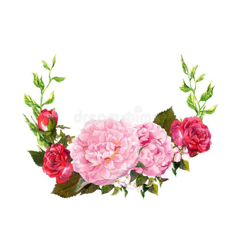 Floral στεφάνι με τα ρόδινα peony λουλούδια, κόκκινα τριαντάφυλλα Εκτός από την κάρτα ημερομηνίας για το γάμο watercolor απεικόνιση αποθεμάτων