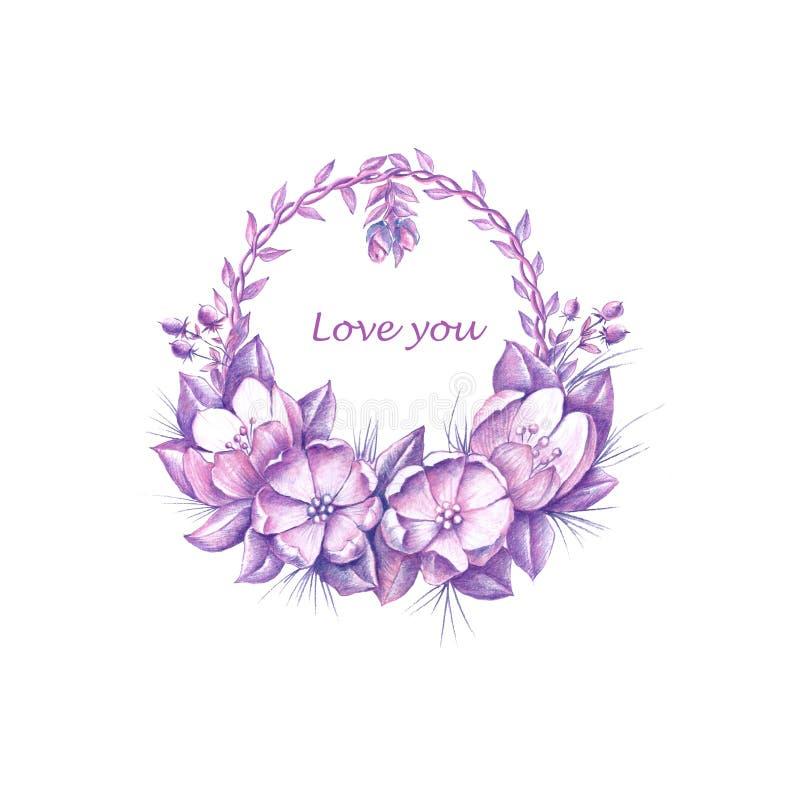 Floral στεφάνι Watercolor για την ημέρα Valentinαπεικόνιση αποθεμάτων