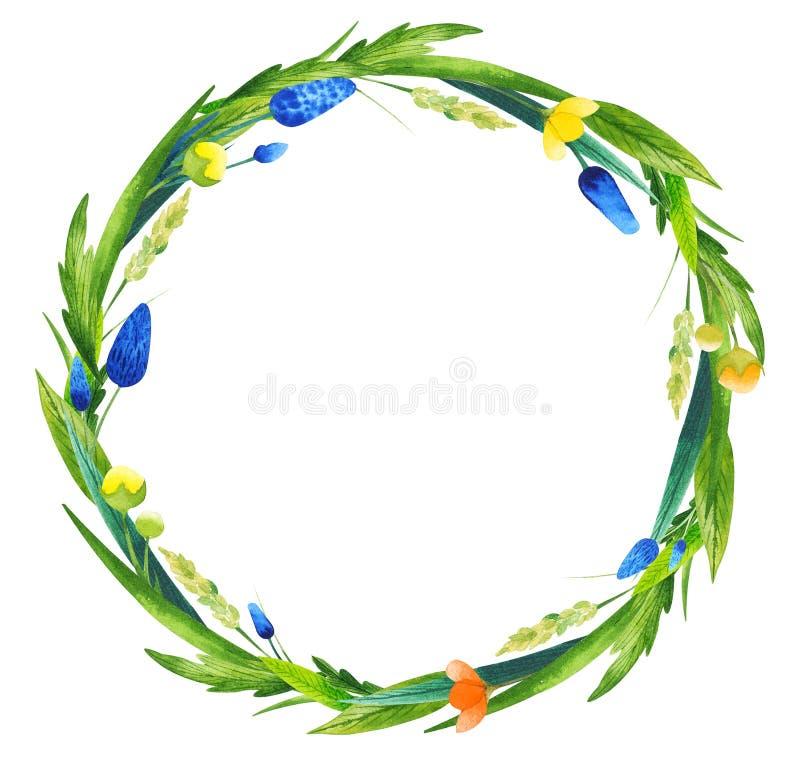 Floral στεφάνι Watercolor ελεύθερη απεικόνιση δικαιώματος